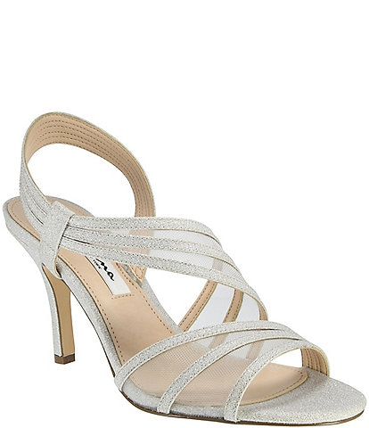 Nina Vitalia Metallic Fabric & Mesh Slip-On Dress Sandals