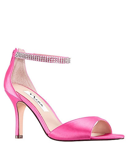 Nina Volanda Satin and Rhinestone Dress Sandals