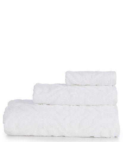 Noble Excellence Aria Sculpted Scroll Pattern Bath Towels