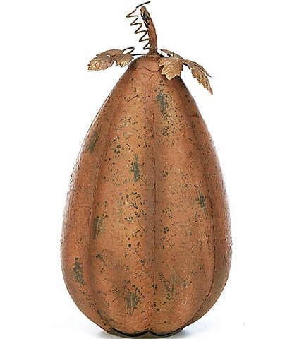 Noble Excellence Festive Fall Collection Antiqued Metal Tall Pumpkin Decor