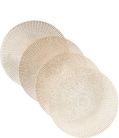 Noble Excellence Holiday Herringbone Pressed Round Placemats, Set of 4