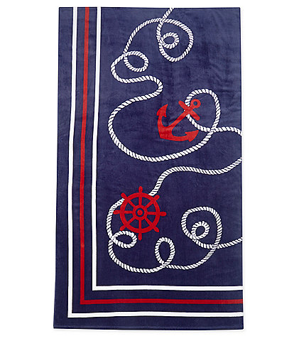 Noble Excellence Outdoor Living Collection Mariner Velour Beach Towel