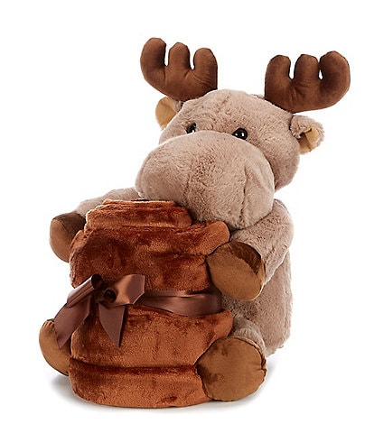 Noble Excellence Warm Shop Collection Throw & Moose Stuffed Animal Set