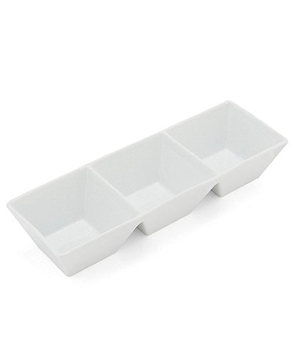 Noble Excellence White Porcelain Rectangular 3-Sectional Serve Dish