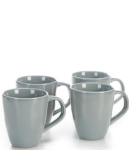 Noble Excellence Willow Collection Glazed Coffee Mugs, Set of 4