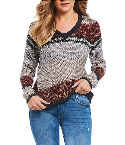 Noisy May Cash Long Sleeve Striped Knit Sweater