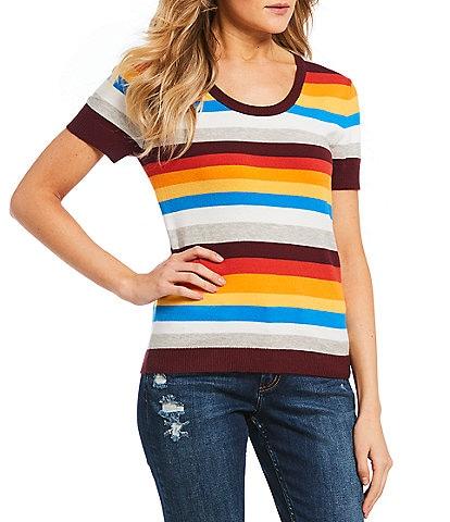 Noisy May Rainbow Stripe Knit Tee