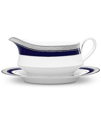 Noritake Crestwood Cobalt Etched Platinum Porcelain Gravy Boat with Stand