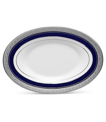 Noritake Crestwood Cobalt Platinum Porcelain Butter/Relish Tray
