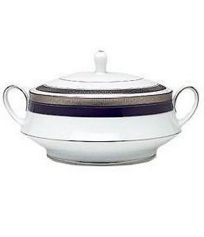 Noritake Crestwood Cobalt Platinum Porcelain Covered Vegetable Bowl