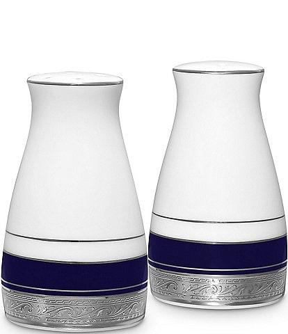 Noritake Crestwood Cobalt Platinum Porcelain Salt & Pepper Shaker Set
