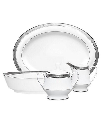 Noritake Crestwood Etched Platinum Porcelain 5-Piece Completer Set