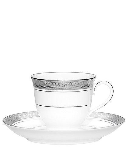 Noritake Crestwood Etched Platinum Porcelain After Dinner Cup & Saucer Set