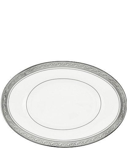 Noritake Crestwood Etched Platinum Porcelain Butter/Relish Tray