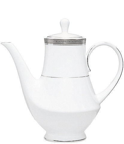 Noritake Crestwood Etched Platinum Porcelain Coffeepot