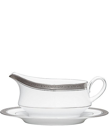 Noritake Crestwood Etched Platinum Porcelain Gravy Boat with Stand