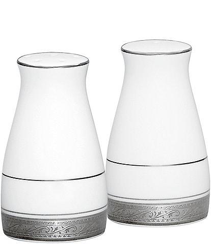 Noritake Crestwood Etched Platinum Porcelain Salt & Pepper Shaker Set