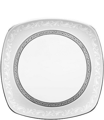 Noritake Crestwood Etched Platinum Porcelain Square Accent Plate