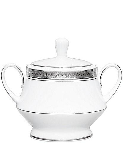 Noritake Crestwood Etched Platinum Porcelain Sugar Bowl with Lid