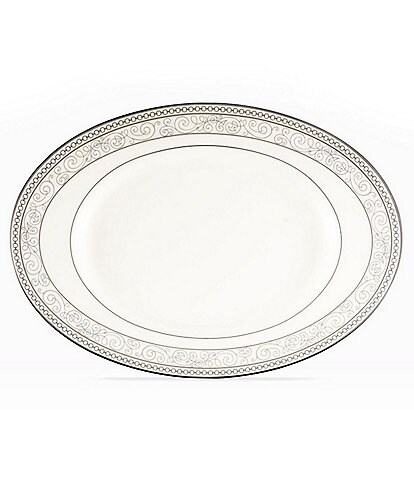 Noritake Meridian Cirque Filigree Platinum Butter/Relish Tray