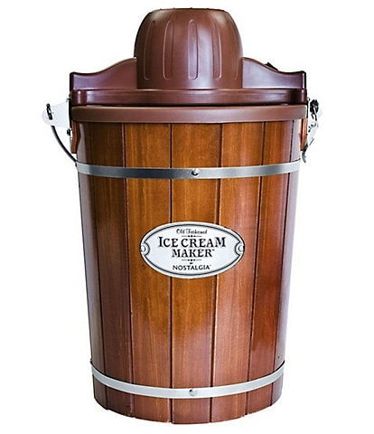 Nostalgia Electrics Vintage 6-Quart Dark Wood Bucket Electric Ice Cream Maker