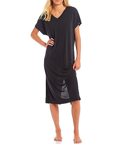 Nottibianche Easy Essential Solid Jersey Knit V-Neck Short Sleeve Caftan