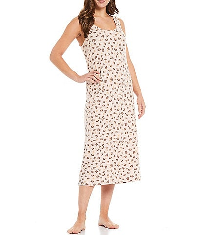 Nottibianche Leopard Print Brushed Knit Scoop Neck Sleeveless Maxi Nightgown