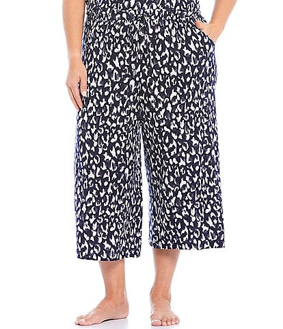 Nottibianche Printed Jersey Knit Cropped Sleep Drawstring Pants