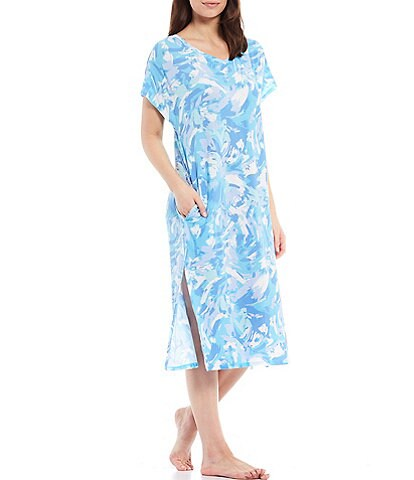 Nottibianche Printed Knit V-Neck Short Sleeve Maxi Nightgown