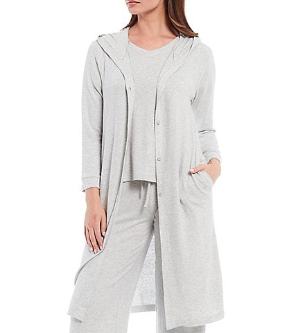 Nottibianche Solid Brushed Heather Knit Hoodie Lounge Long Cardigan