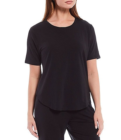 Nottibianche Solid Jersey Short Sleeve Knit Lounge Top