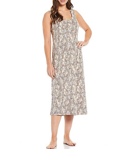 Nottibianche Spot Print Brushed Knit Scoop Neck Sleeveless Maxi Nightgown