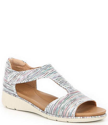 Nurture Surrie Rainbow Leather T-Strap Wedge Sandals