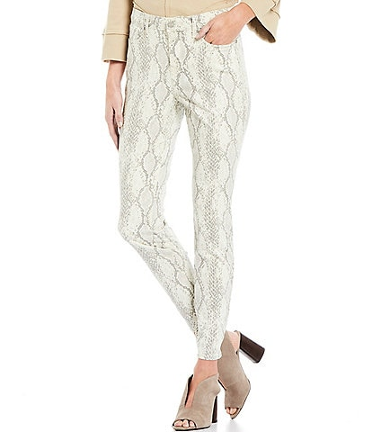 NYDJ Ami Snake Skin Print Tailored Welts Skinny Jeans