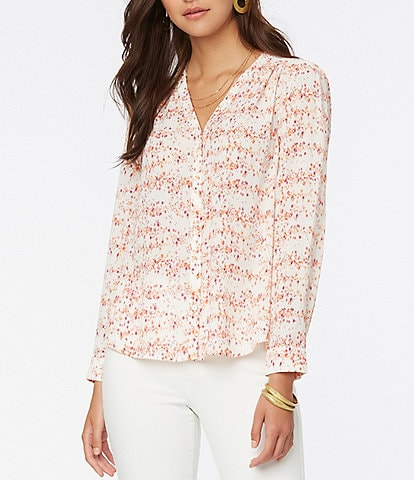 NYDJ Bouquet Floral Print Smocked Details V-Neck Long Sleeve Button Down Blouse