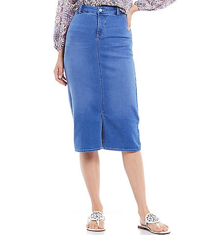 NYDJ Braided Belt Loop Denim Midi Skirt