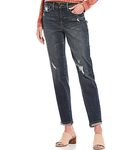 NYDJ Easy Fit Destruction Detail Roll Cuff Ankle Jeans