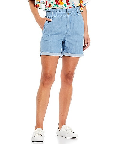 NYDJ Paperbag-Waist High Rise Roll Cuff Baggy Fit Shorts
