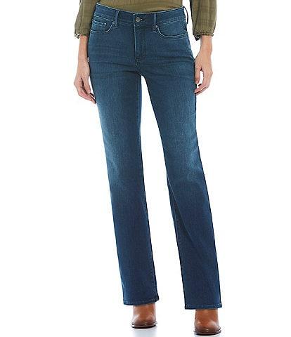 NYDJ Petite Size Marilyn Straight Leg Mid Rise Denim Jeans