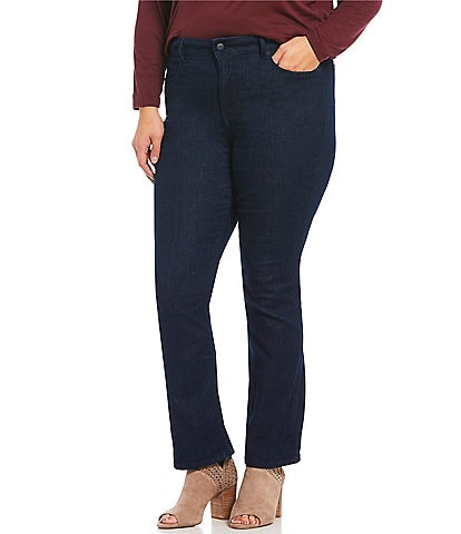 NYDJ Plus Size Marilyn Rinsed Straight Jeans