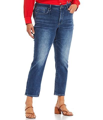 NYDJ Plus Size Sheri Slim Leg Ankle Length Stretch Denim Jeans