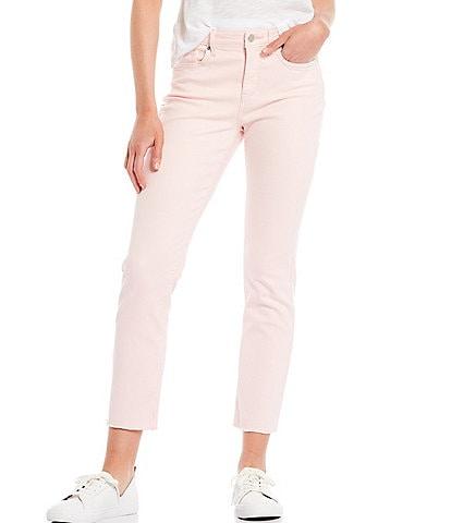 NYDJ Sheri Slim Straight Leg Frayed-Hem High Rise Ankle Jeans