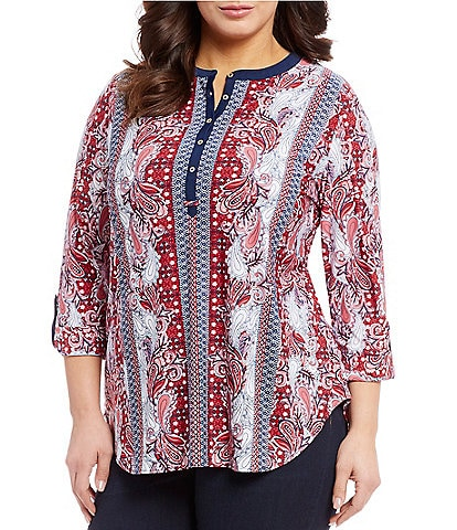 Nygard Plus Size Printed Knit Henley Top