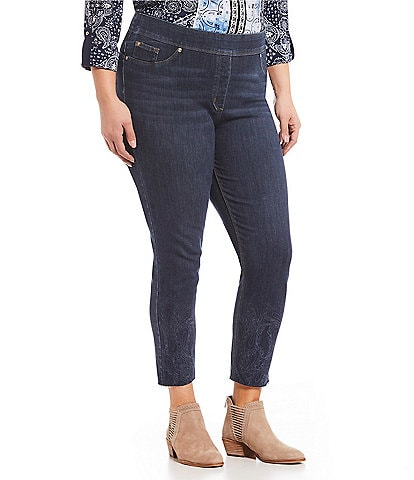 Nygard SLIMS Plus Size Luxe Denim Skinny Ankle Laser Print Paisley Jeans