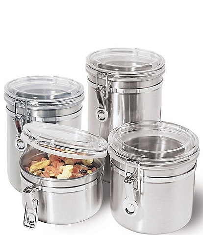 Oggi 4-Piece Airtight Stainless Steel & Acrylic Canister Set