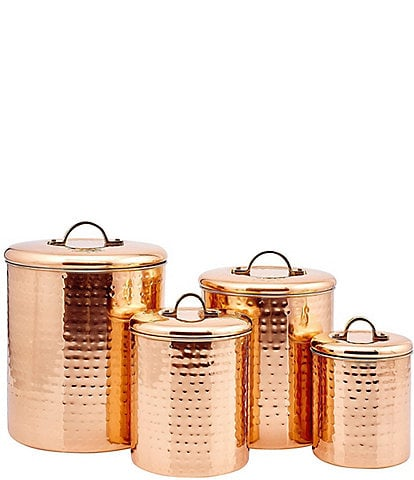 Old Dutch 4-Piece Dcor Copper Hammered Canister Set