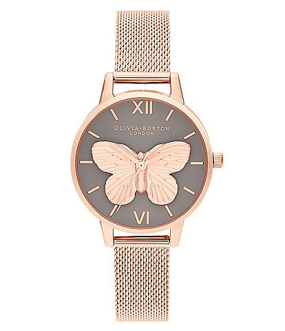 Olivia Burton 3D Butterly Grey Dial & Rose Gold Mesh Watch