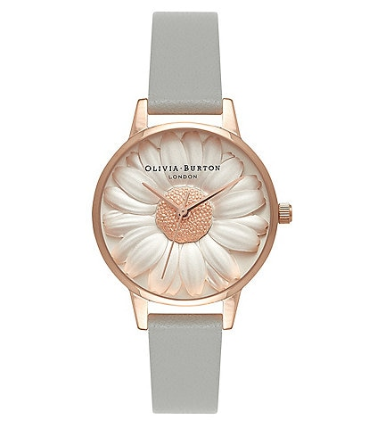 Olivia Burton 3D Daisy Grey & Rose Gold Watch