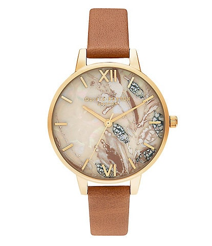 Olivia Burton Abstract Florals Honey Tan & Gold Strap Watch