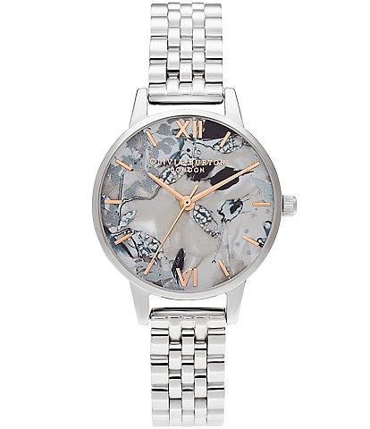 Olivia Burton Abstract Florals Silver Bracelet Watch